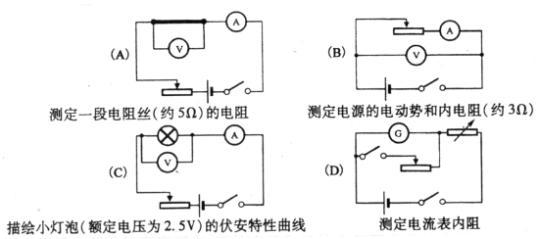 AB 解析:电阻丝电阻值较小,为减小实验误差,应采用外接法,A正确.电源内阻较小,同理可知应采用外接法,B正确.描绘小灯泡的伏安特性曲线,变化范围大,应采用分压式,C错误.D电路图中应将电阻箱和滑动变阻器对调,才能利用半偏法测出电流表的内阻,D错误.