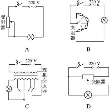 而其他选项中,不论滑动变阻器是分压接法还是限流接法,滑动变阻器上总