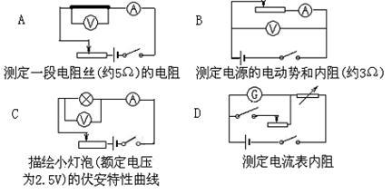 电路要测的是电源的内阻,电压表测量的是电源两端的电压,即输出电压