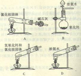 下面是实验室制取氨气的装置和选用的试剂,其中错误的是图片